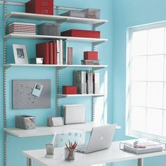 The Container Store > White & Platinum elfa Office Shelving & Desk. Organized home office inspiration. Elfa Shelving, Office Shelving, Shelving Systems, Shelving Ideas, Office Workspace, Office Nook, Desk Shelves, White Shelves, Closet Office