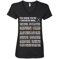 You know you're a crocheter when  ladies' V-Neck Tee