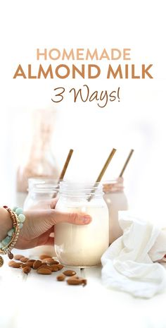 How To Make Homemade Almond Milk - 3 Ways! - The Healthy Maven An easy video tutorial on how to make homemade almond milk, 3 different ways! From classic vanilla, to spicy chai and decadent chocolate, this step-by-step tutorial will teach you how Chocolate Almond Milk, Make Almond Milk, Almond Milk Recipes, Homemade Almond Milk, Homemade Vanilla, Decadent Chocolate, Homemade Chocolate, Healthy Chocolate Milk, Organic Homemade
