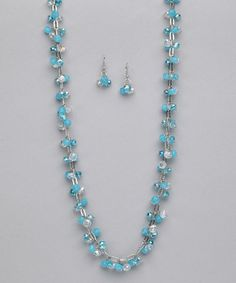 Take a look at this Turquoise & Clear Necklace & Earrings by The Shelley Line on #zulily today!