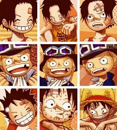 Ace, Sabo, Luffy, brothers, young, childhood, cute, funny, different expressions, collage; One Piece