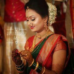 Image may contain: 1 person Marathi Bride, Marathi Wedding, Indian Wedding Bride, Indian Wedding Outfits, Bridal Outfits, Wedding Attire, Marathi Nath, Bridal Silk Saree, Saree Wedding