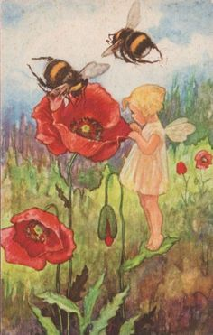 ≗ The Bee's Reverie ≗ Vintage Illustration of Bee Fairy with Poppy