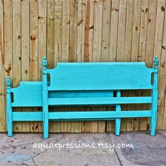 Bayside Blue/ Double Bed/ Vintage Headboard/ by AquaXpressions,