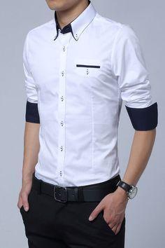 White Cotton Squared-Off Collar Classic Mens Shirt #MensFashionIndian #FashionTrendsSs18