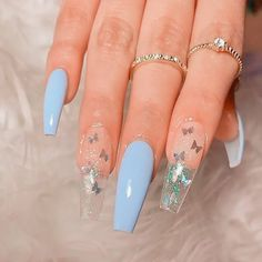 Butterfly Nail Designs, Acrylic Nail Designs, Coffin Nails Designs Summer, Butterfly Nail Art, Pointy Nails, Gel Nails, Manicure, Nail Nail, Nail Art Transparent