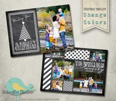 Christmas Card Templates - Family Christmas Card Chalkboard 99 by SugarfliesDesigns on Etsy