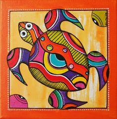 Peinture de Kawann, la petite tortue des mers