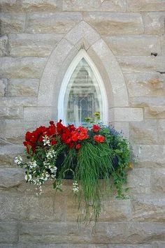 Red, white & blue flowers in a beautiful window