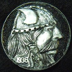 LARRY FOSTER HOBO NICKEL - VIKING* - 1936 BUFFALO PROFILE Hobo Nickel, Larry, The Fosters, Vikings, Buffalo, Coins, Carving, Profile, Concept