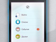 Menu designed by Yegor Trukhin. Connect with them on Dribbble; Ios Design, Menu Design, Galaxy Phone, Samsung Galaxy, Design Inspiration
