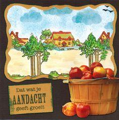 Kaart met Autumn scene-it stempel. Verkrijgbaar bij www.multihobby.nl