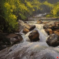 Paintbrush Creek Cascade by Stacey Peterson Oil ~ 12 x 12