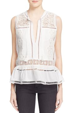 Sea Lace Trim Cotton Peplum Top available at #Nordstrom