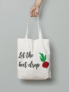 let the beet drop canvas tote bag - reusable shopping bag