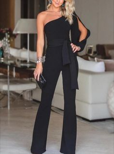 belt Jumpsuit wide legs rompers playsuits one shoulder jumpsuit pants jumpers. S… belt Jumpsuit wide legs rompers playsuits one shoulder jumpsuit pants jumpers. Black Women Fashion, Look Fashion, Womens Fashion, Ladies Fashion, Casual Fashion Style, Feminine Fashion, Cheap Fashion, Girl Fashion, Winter Fashion