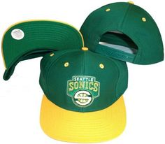 vintage retro NBA seattle super sonics green yellow snapback hat cap by Reebok. $14.99. Solid body construction. Fits perfect on everyone. Officially licensed by Major League Product. Firm front panel. Six panels with eyelets. This  Vintage NBA Snapback Snapback hats, make of soft and smooth  100% cotton with adjustable snapback, one size fits most, Six panels with eyelets. this item is belong to  men or women & youth. color : green / yellow visor / green under visor  with...