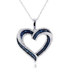 Annello by Kobelli 10k White Gold Blue Diamond Accent Heart Pendant