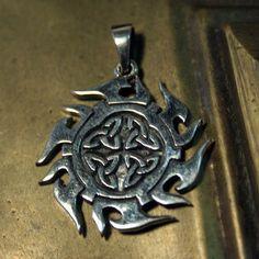 Triquetra Celtic-Knotwork Flames Power Amulet Pendant 925 Sterling Silver charm