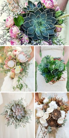 Try to incorporate into beautiful wedding bouquets exotic protea, colorful kale flowers, great combination of pine cones and cotton. Wedding Flower Design, Floral Wedding, Wedding Flowers, Bridal Shower Decorations, Flower Decorations, Wedding Decorations, Pink And White Weddings, White Wedding Bouquets, Succulent Bouquet