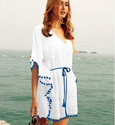 Biggdesign Pompom Plaj Elbisesi S-M Zet.com'da 139.90 TL Handmade Clothes, Diy Clothes, Clothes For Women, Diy Fashion, Korean Fashion, Kaftan Pattern, Beachwear 2018, Trendy Outfits, Cute Outfits