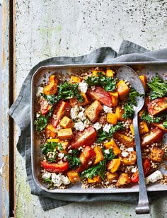 Couscous with Roast Squash & Feta Use giant couscous in this vibrant veggie traybake - the perfect midweek meal, on the table in 30 minutes Veggie Dishes, Veggie Recipes, Gourmet Recipes, Vegetarian Recipes, Cooking Recipes, Healthy Recipes, Veggie Meals, Veggie Autumn Recipes, Veggie Lunch Ideas