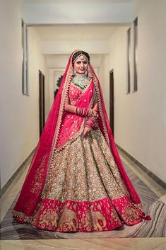 927f165f30a50 Lovely red gold bridal lehenga from Rimple and Harpreet Narula. Click on  image to see more.  Frugal2Fab