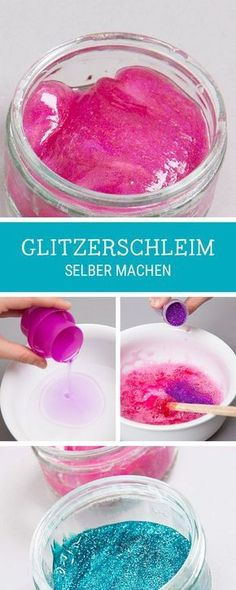DIY guide for kids: make slime with glitter yourself / funky and trendy s . - DIY tutorial for kids: make slime with glitter yourself / funky and trendy slime tutorial with glit - Diy Bracelets To Sell, Diy For Kids, Crafts For Kids, Diy Pinterest, Glitter Slime, Diy Slime, Slime Kit, Homemade Slime, Unicorn Party