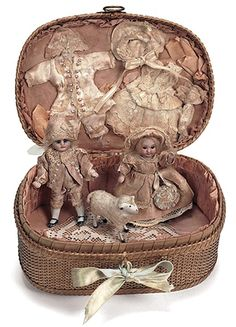 German Bisque Doll —  Pair  4''  All-Bisque Mignonettes, 1890   (432x600)