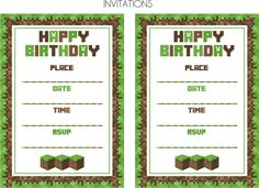 Free Printable Minecraft Invitations | Kids Party Ideas ...