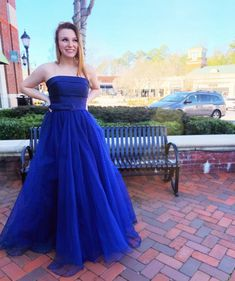 Navy Blue ballgown with retro belt by Sherri Hill | Retro Vibes Prom Dress  www.bravurafashion.com 4475 Roswell Road, Marietta, Georgia 30062 P. 770-977-8916  INSTA: @BravuraFashion Strapless Dress Formal, Formal Dresses, Wedding Dresses, Miss America Contestants, Prom Boutiques, Marietta Georgia, Sherri Hill Prom Dresses, Mother Of The Bride