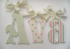 GLITTER and SPARKLE Baby Nursery Wall Letters Custom Boutique Nursery Hanging Handpainted Wood Letters on Etsy, $15.50