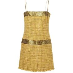 Pre-owned Chanel Wool Mini Dress (€1.530) ❤ liked on Polyvore featuring dresses, chanel, yellow, women clothing dresses, beige dress, wool dress, mini dress, pre owned dresses and beige short dress