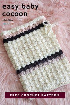 Crochet Baby Cocoon Pattern, Baby Girl Crochet, Crochet Blanket Patterns, Baby Patterns, Crochet Stitches, Free Crochet, Sewing Patterns, Crochet Preemie Hats, Newborn Crochet