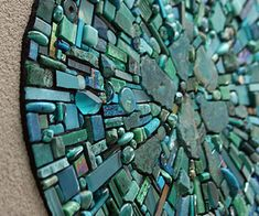 Nebula Aqua is a fine art mosaic installation created from a rich mix of semi-precious stones, mineral specimens, tiles, smalti, glass fusions and more.