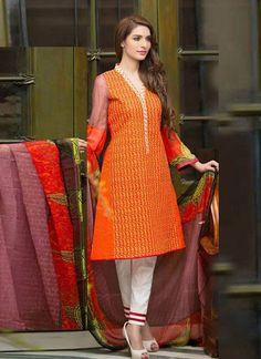 Awesome Orange Pure Lawn Cotton Salwar Kameez1118