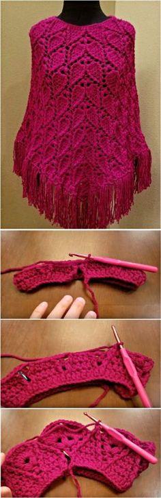 Leaf Stitch Poncho Crochet Tutorial