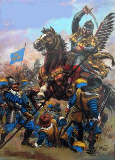 Swedish soldiers overwhelmed by Polish-Lithuaniam cavalry Military Art, Military History, Poland History, Swedish Army, Thirty Years' War, Templer, Lappland, Medieval Art, European History