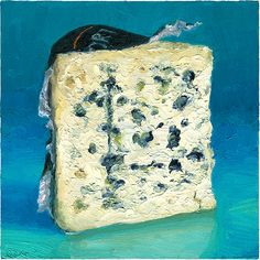 Roquefort Blue Cheese from Papillon is one of the greats in the cheese world.  The print of this painting is available here: http://mikegeno.com/cheese%20album/pages/Roquefort_Papillon2_matted_PRINT.htm