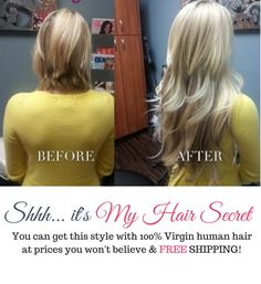 Get the hair you've always wanted, for way less than the other guys. Delivered to your door with a 30-day money back guarantee! No more shady hair shopping and best of all... FREE SHIPPING!  It's MY HAIR SECRET… and now it's yours! extensions-weaves-hair-closures-frontals-wigs-my-hair-secret-weave-transformation-before-and-after