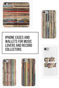Phone cases and wallets for music fans or vinyl records collectors from iheartrecords at redbubble.com