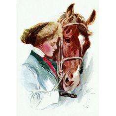 Horse Woman Fabric Block  Girl Gives Horse by KatyDidsFabrics, $5.99
