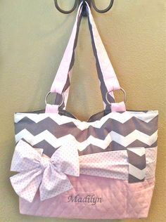 Grey & White Chevron With Light Pink Diaper Bag. by CeeJaze, $95.00