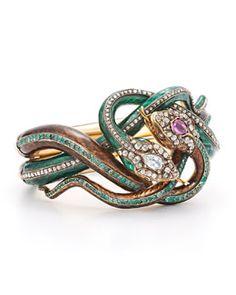 J8805 Fred Leighton Estate 19th Century Enamel Diamond, Ruby and Emerald Coiled Snake Bracelet