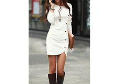 Bellitzima.com: Vestido blanco con botones al frente y manga larga - Kichink!