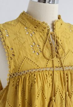 Try To Be Boho Embroidered Eyelet Maxi Dress in Mustard - Retro, Indie and Unique Fashion Sleeves Designs For Dresses, Neck Designs For Suits, Kurti Neck Designs, Dress Neck Designs, Pakistani Formal Dresses, Pakistani Fashion Casual, Pakistani Dress Design, Stylish Dress Designs, Stylish Dresses For Girls