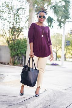 5860ec2c59 office attire with red burgundy sweater  workoffice  officestyle work  outfit fashion Classic Work Outfits
