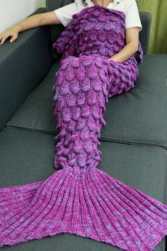 $21.43 Knitting Fish Scales Design Mermaid Tail Style Blanket - Light Purple