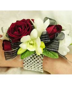 pearl wrist corsage with red rose - Google Search