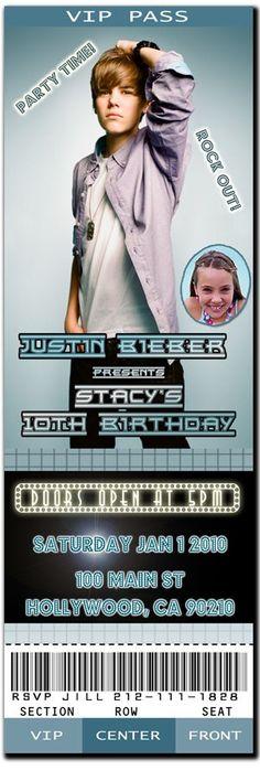 Justin Bieber Custom Printable Birthday Party Invitation . $9.95